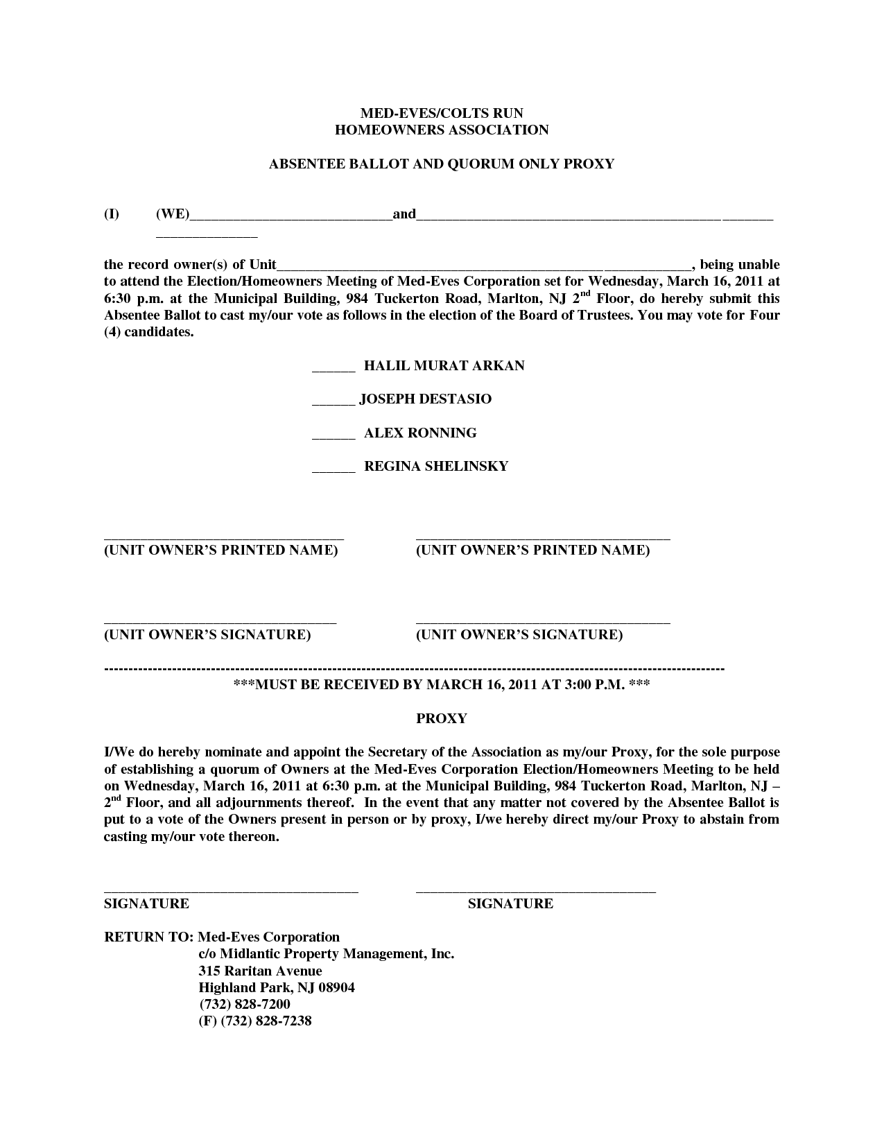 Proxy For Members - hoa proxy form template | Legal Documents ...