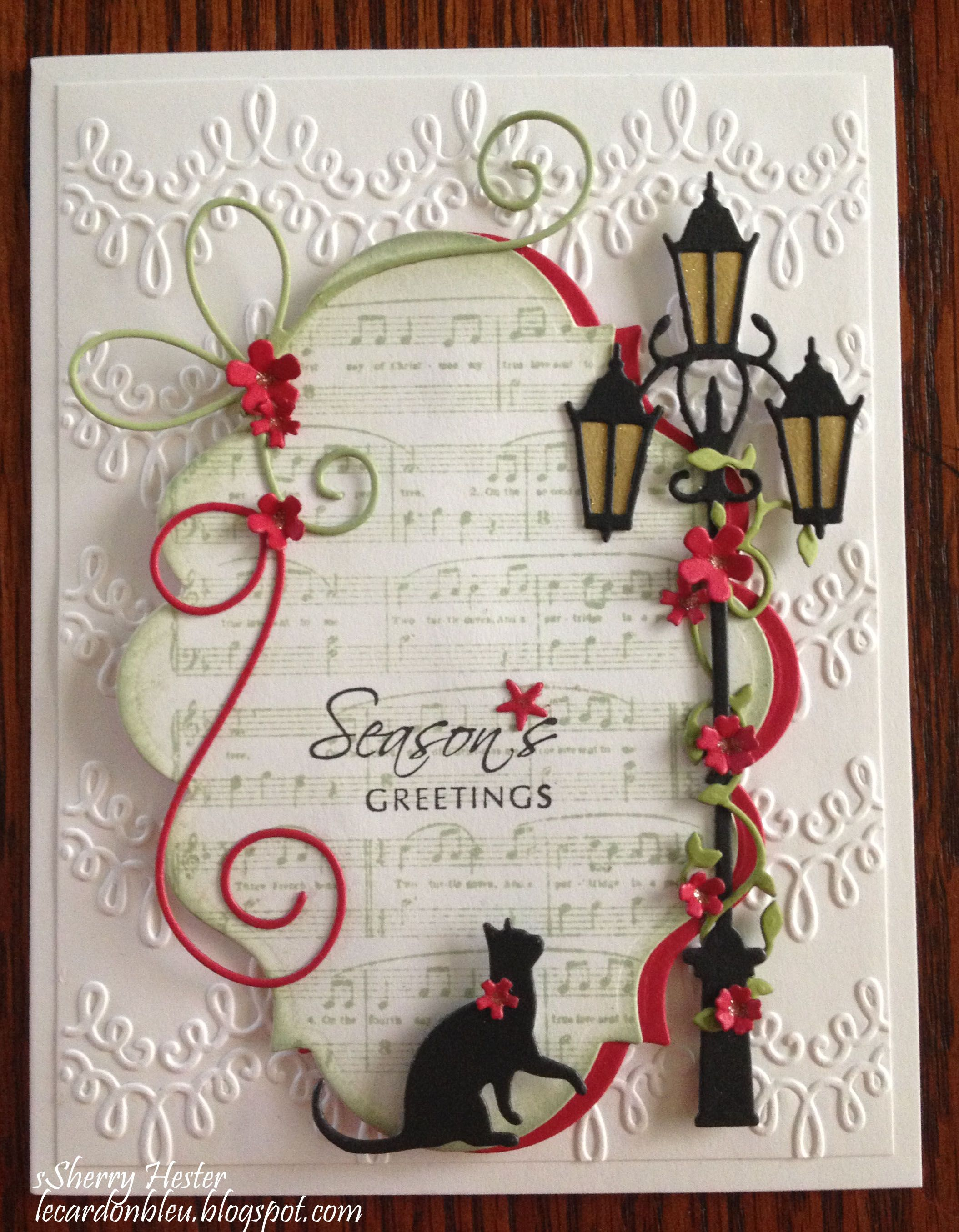Season's Greetings lamppost Christmas cards handmade