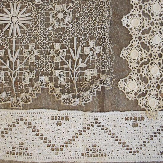 Four Antique Lace Trims from Curious Sofa