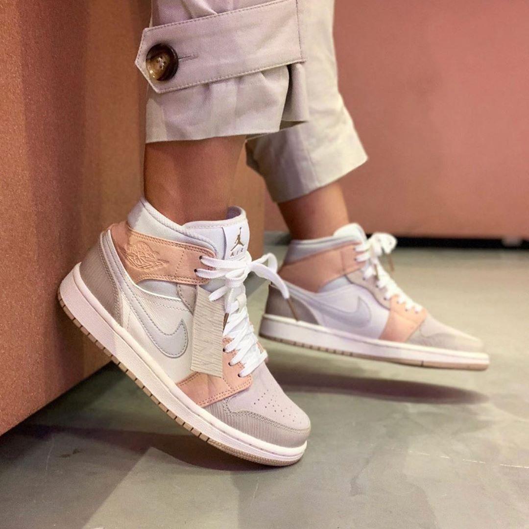 "Air Jordan 1 Mid ""Milan"" CV3044-100 Beige Pink Grey | Nike shoes ..."