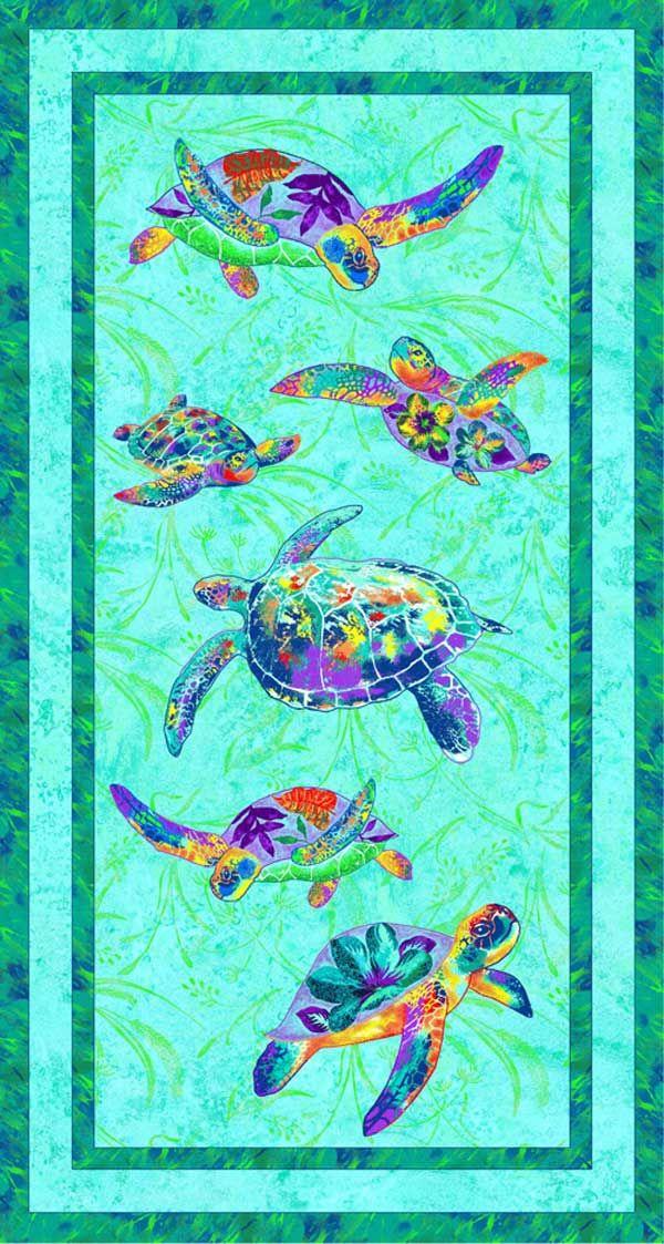 Fabriquilt Calypso Turtles Sea Turtle Panel 24 x 44 | Fabric ...