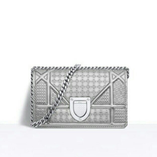 DIOR - Diorama Baby pouch in silver-tone metallic calfskin. Its oversized  cannage design creates contrast with miniature perforated motifs for a ... 685a349398fcc