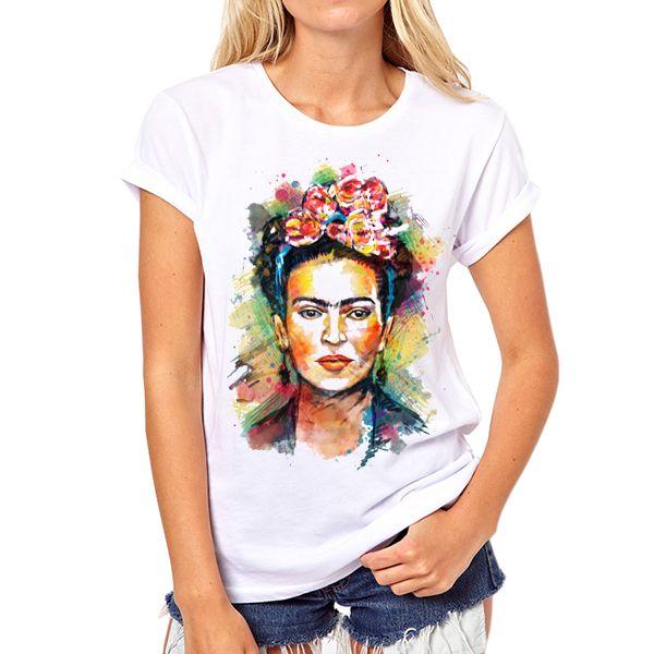 b6ca5b9b5eb Cheap Nueva llegada de moda frida kahlo impresión de la camiseta divertida  personalizada camisetas Short round manga cuello azúcar cráneo camiseta