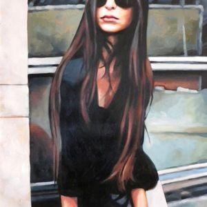 long black hair and glasses