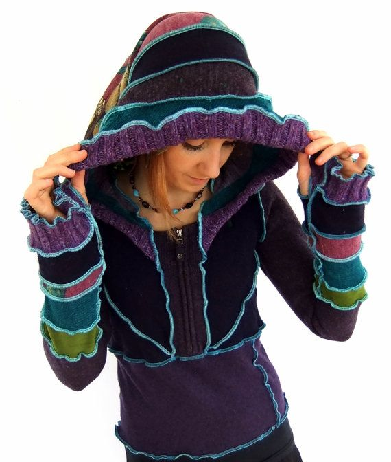 Dragonfly pixie hOOdie  Upcycled Pullover  SMALL von Fairytea