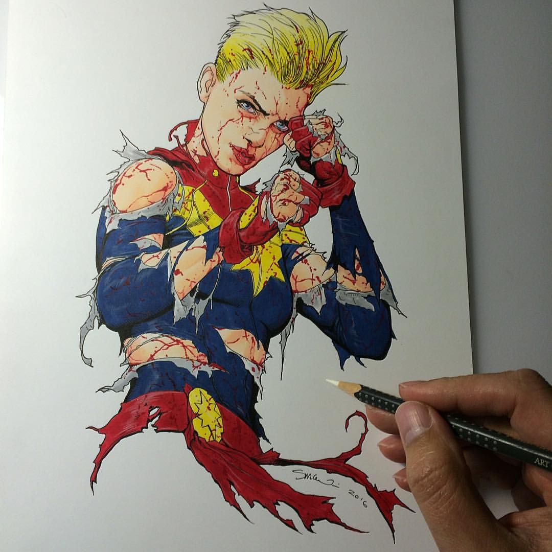 Here\'s a Captain Marvel still standing sketch I finished up today ...