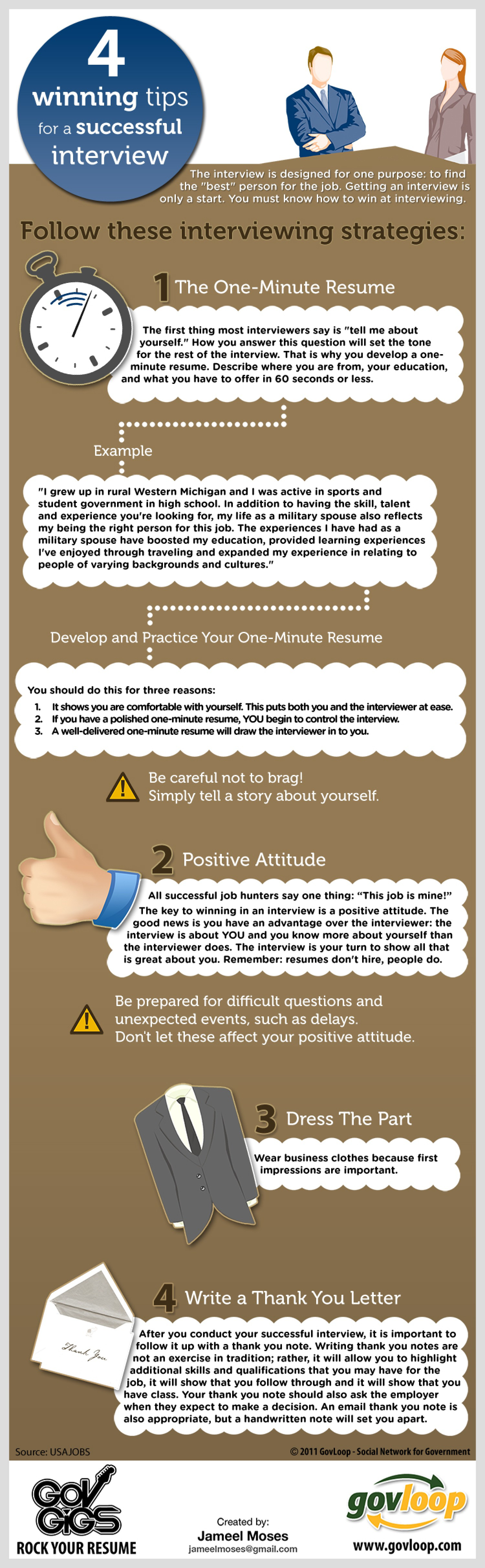 4 winning tips for a successful job interview infographic govloop knowledge network for government - How To Have A Good Interview Tips For A Good Interview