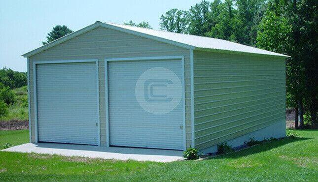 Photo of 24×31 Vertical Roof Standard Garage – Enclosed Steel Garage