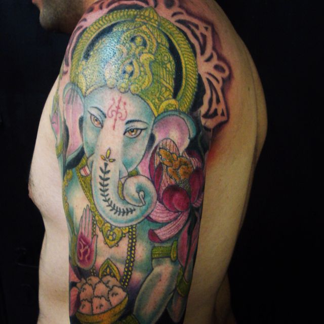 88a884ef0 Color Ganesh sleeve Ganesh Tattoo, Dali Tattoo, Tatoo, Buddha Tattoos,  Professional Tattoo