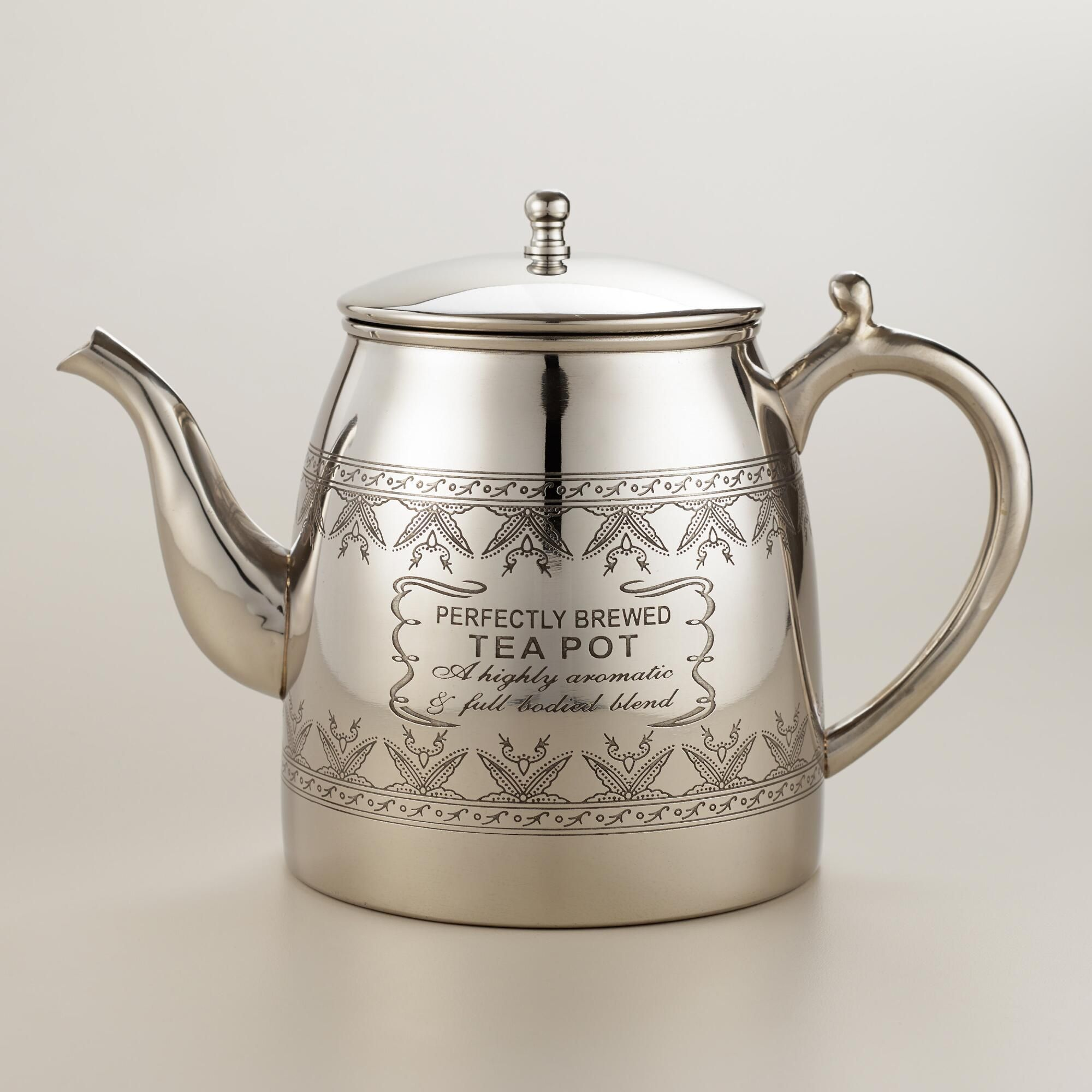 our burnished stainless steel teapot features a traditional curved