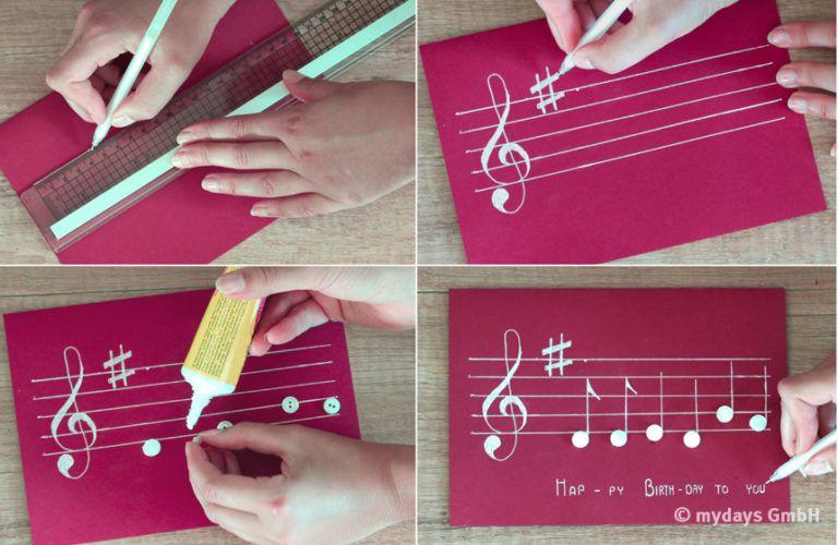 diy geburtstagskarten basteln geburtstagskarte basteln musikalisch und basteln. Black Bedroom Furniture Sets. Home Design Ideas