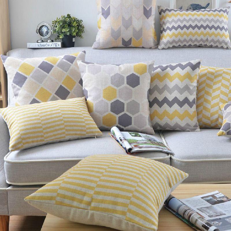 18 Square Plain Geometric Cotton Linen Cushion Cover Sofa Decorative Throw Pillow Home Car Chair Pillow Cas Almofadas Amarelas Almofadas Almofadas Geometricas