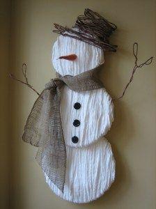 bonhommes de neige avec de la laine