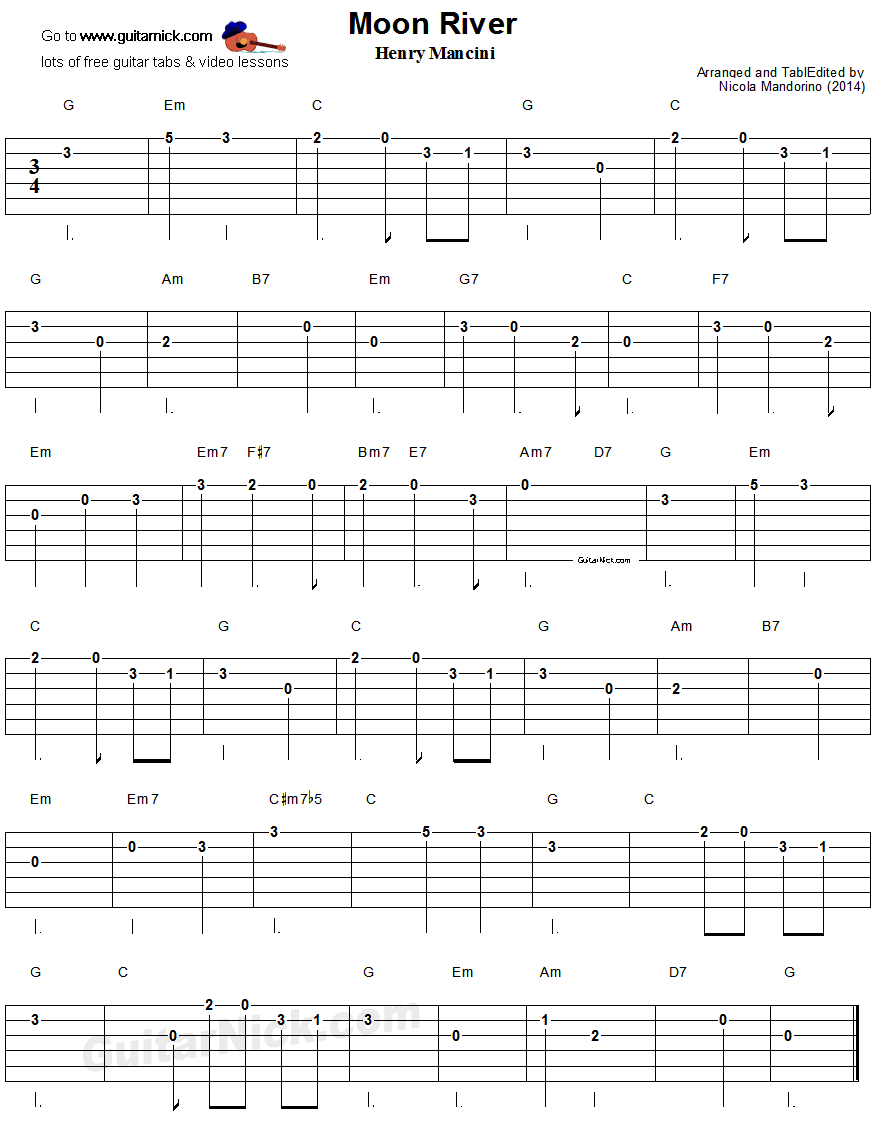 Moon River Easy Guitar Tablature Animating In 2018 Pinterest