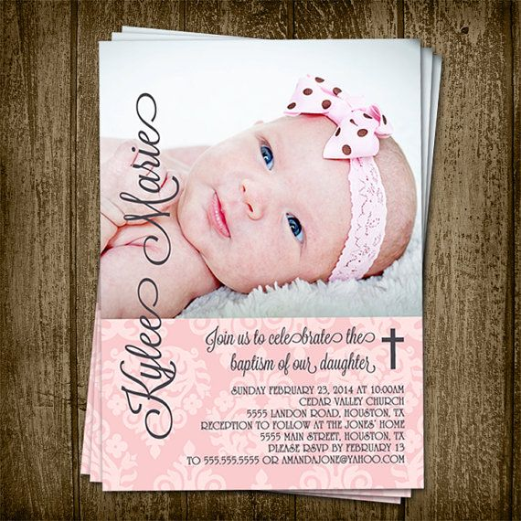 diy printable 5x7 demask baby girl baptism invitation with picture
