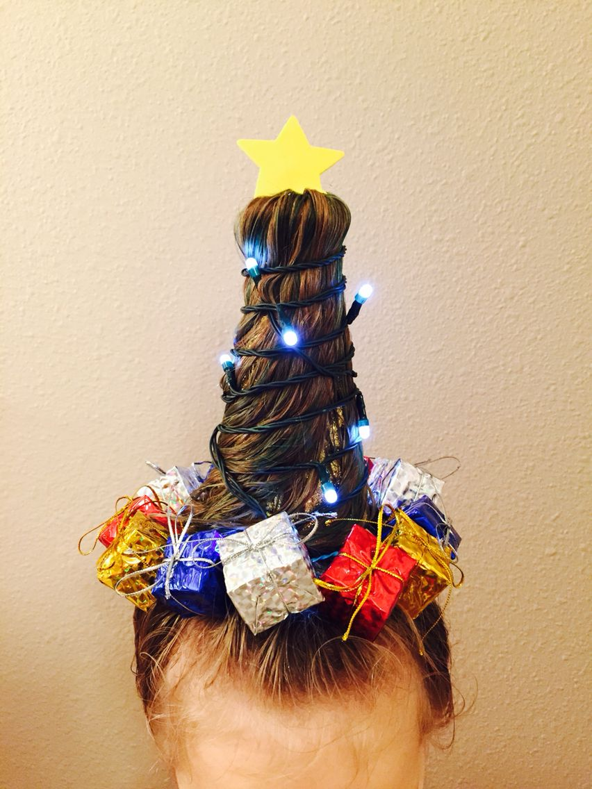 Brielle Christmas Tree Hair For Crazy Hair Day Made With 3 In Dollar Store Items Wacky Hair Wacky Hair Days Christmas Tree Hair