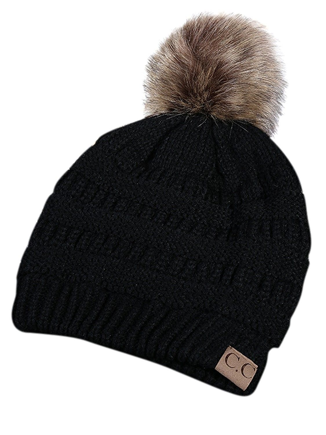 97f0ddcb44d Winter Warm Unisex Chunky Cable Knit Beanie Hat Ski Cap - Pompom-black -  CZ18897TAOY - Hats   Caps