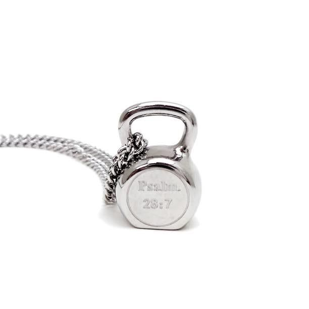 Women/'s Stainless Steel Kettle Bell Necklace-Psalm 28:7 Shields of Strength