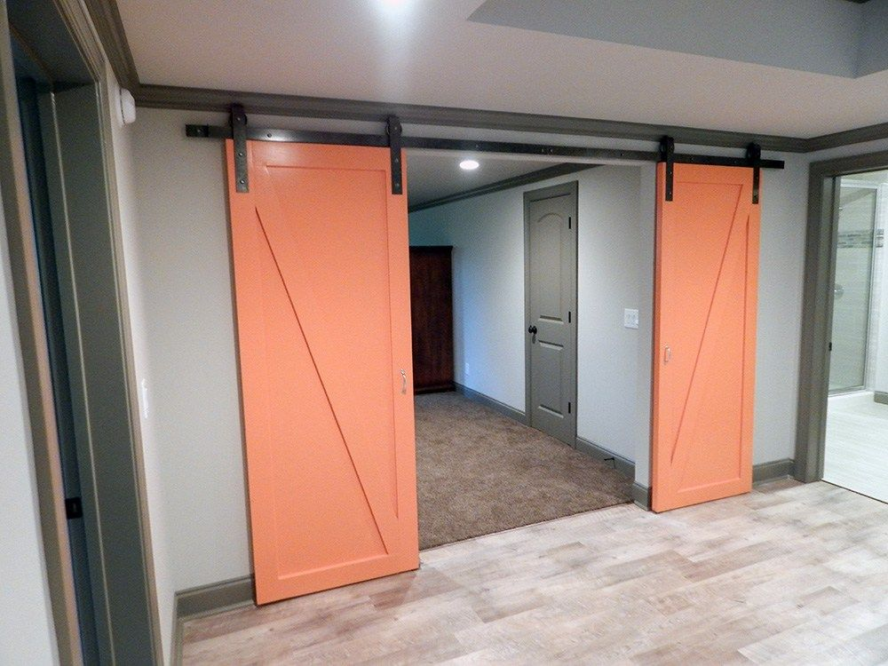 This Contemporary Style Barn Door Was Finished In Behr Construction