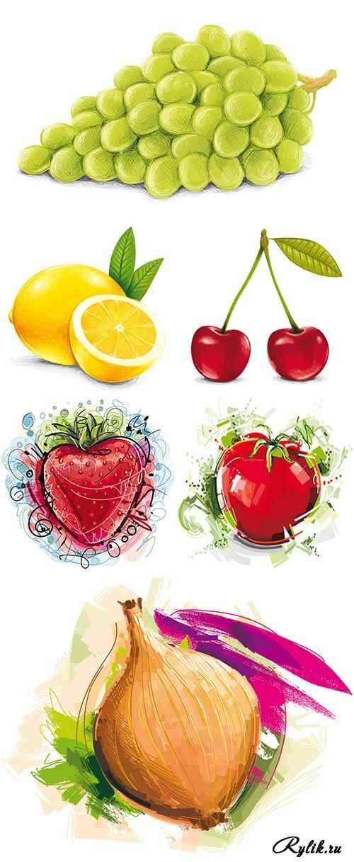 Нарисованные фрукты и овощи ...