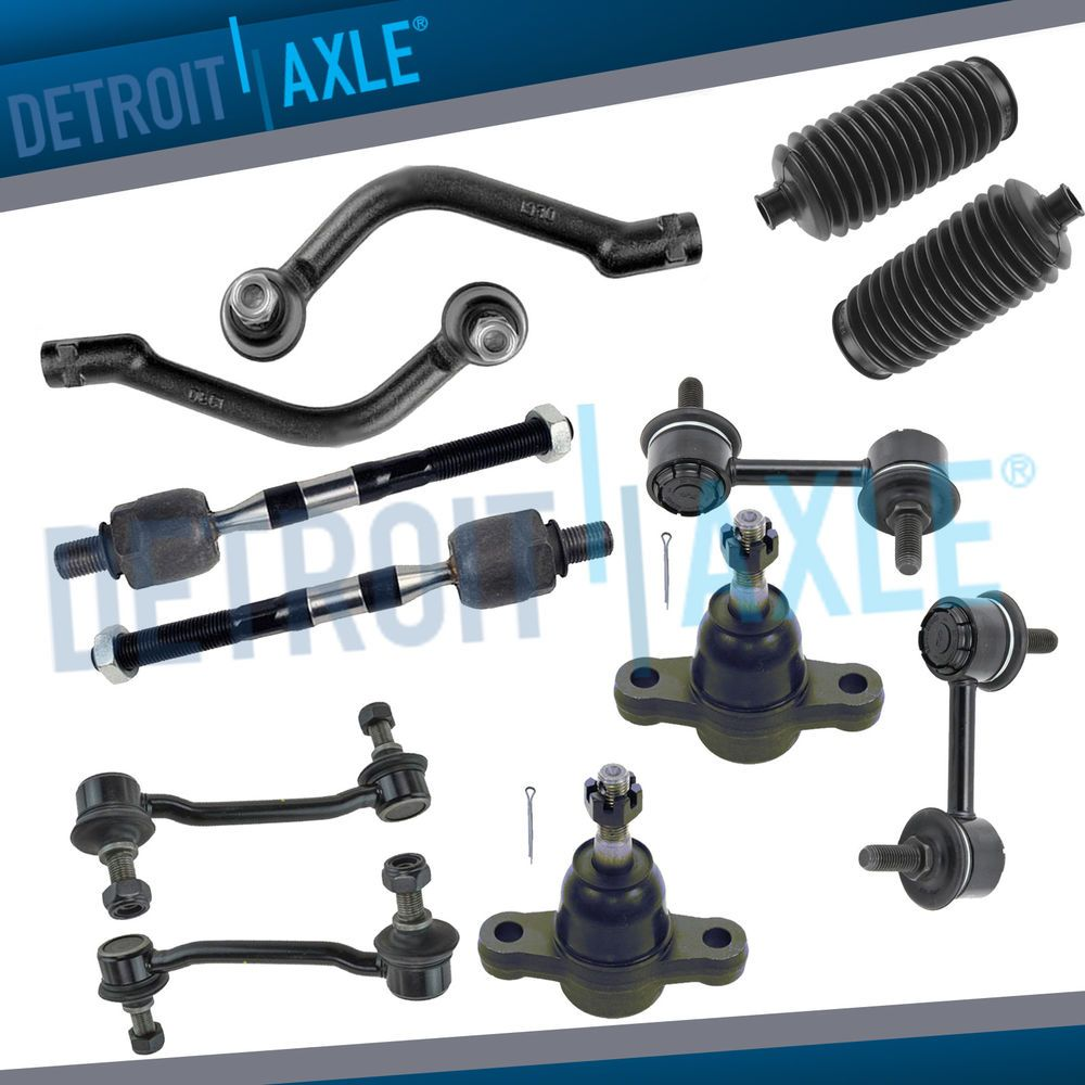 Outer and Inner Tie Rod Detroit Axle 2 Stabilizer Sway Bar Links All Lower Ball Joints Front Lower Suspension Control Arms Pair 4 2 New 10-Piece Front Suspension Kit - Pair 2