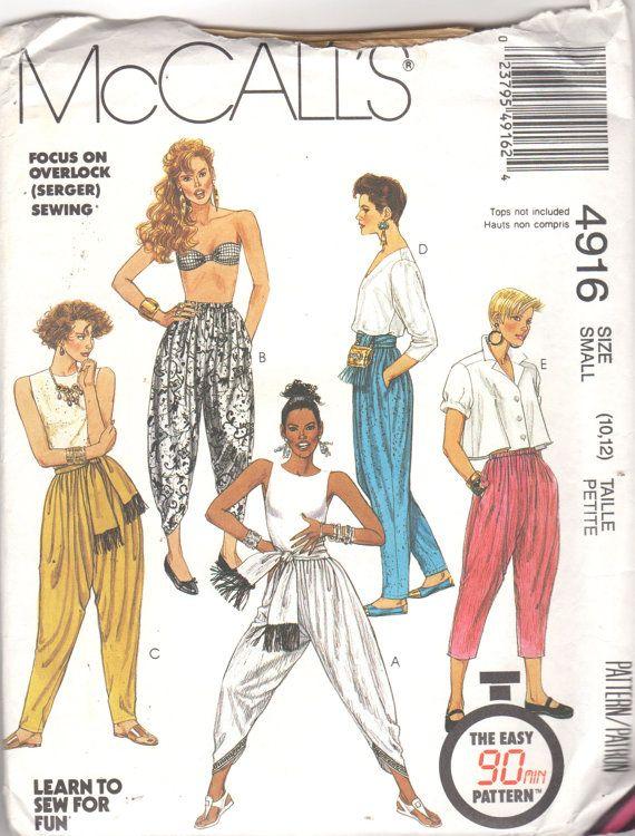 Mccalls 4916 Misses Loose Fitting Yoga Harem Zouave Pants Pattern