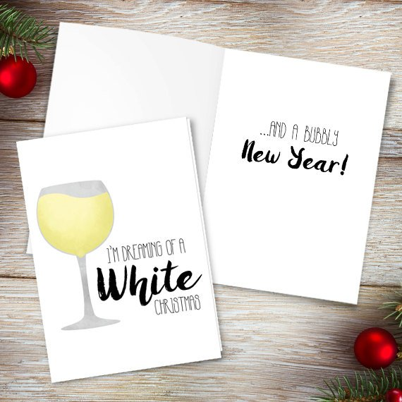 Wine Christmas Puns.I M Dreaming Of A White Christmas Digital 5x7 Printable