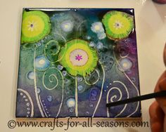 Alcohol Ink Tiles from Crafts For All Seasons - best tutorial and examples I've seen so far