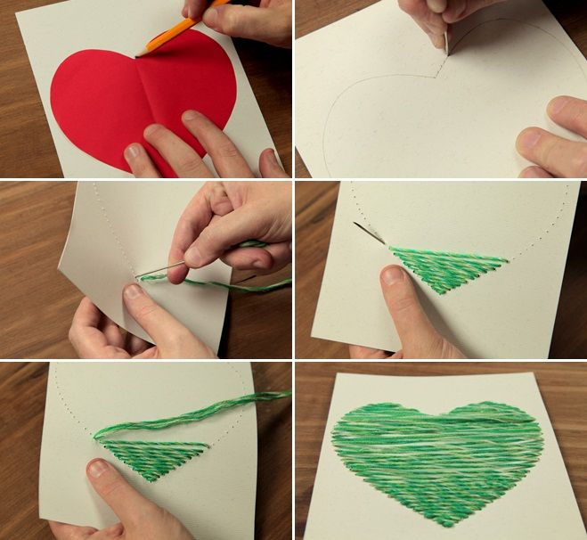 valentines day crafts kids sewing card yarn heart ideas