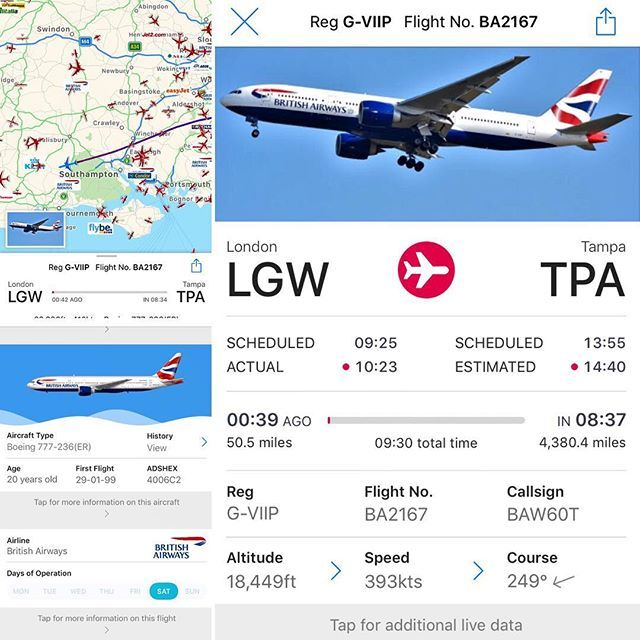 In the Plane Finder app tap the aircraft symbol for more details on
