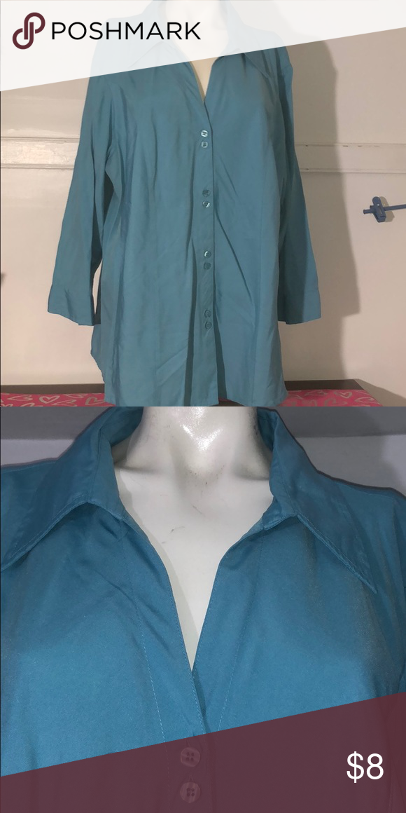 c61b49c74 Blue button down top This is a blue button-down dress shirt by Dress Barn.  It's a size 22/24 in excellent condition dressbarn Tops Button Down Shirts