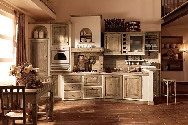 Cucine in muratura rustiche e moderne - Cucina in muratura e legno chiaro  D...