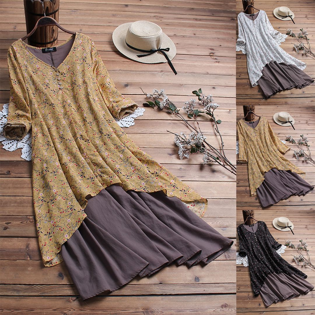 2b38ed9056 Fashion O-NEWE Vintage Floral Print Patchwork Long Sleeve Dress with  Pockets - NewChic Mobile