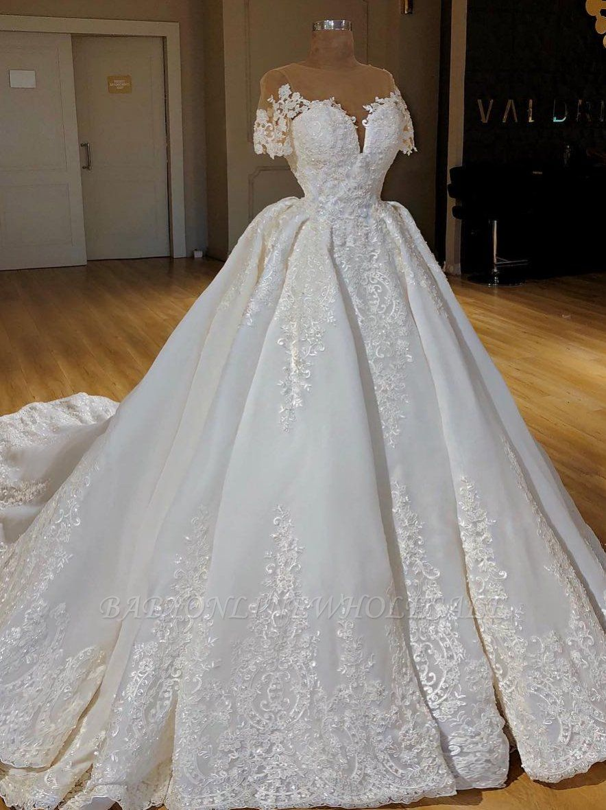 Elegant Lace Ball Gown Wedding Dress Scop Short Sleeve Long Bridal Gowns Bc0814 In 2020 Ball Gown Wedding Dress Bridal Gown Cheaper Long Bridal Gown