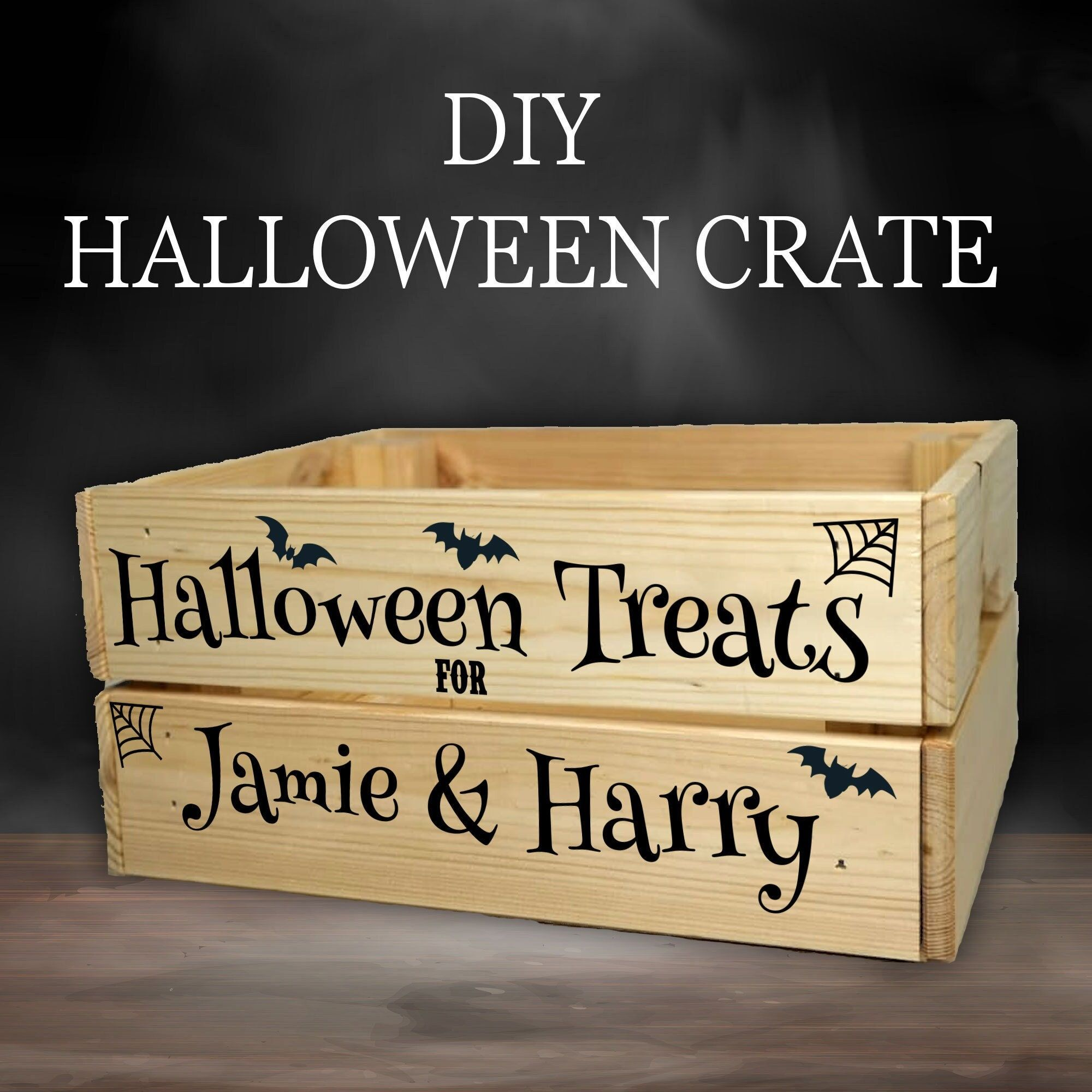 ♥️♥️ CREATE YOUR OWN HALLOWEEN TREATS CRATE ♥️♥️ Create your own Halloween Treats Crate, that will light up faces on Halloween, Create a box that is a great talking point. Adding your own custom vinyl onto an IKEA KNAGGLIG Small Box then maybe add ribbon to really make it stand out. Adding your own Spooky DVD's Sweet Treats you can create a really lovely new tradition for you and your family, We can fit upto 2 names per crate. NEW FOR 2021, See our second image and get a printed vinyl design ins
