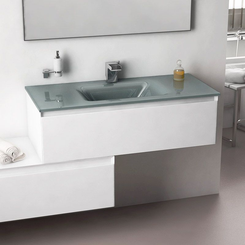Cuenca, meuble salle de bain 101x46 cm blanc brillant, vasque verre ...