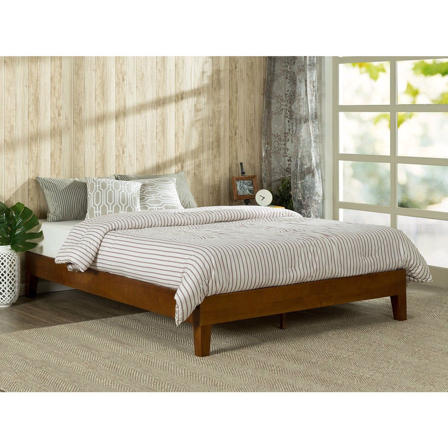 Full size Low Profile Platform Bed Frame in Cherry Wood