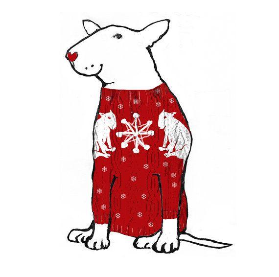 Bull Terrier Christmas Card Christmas Jumper by TheTerriersClub