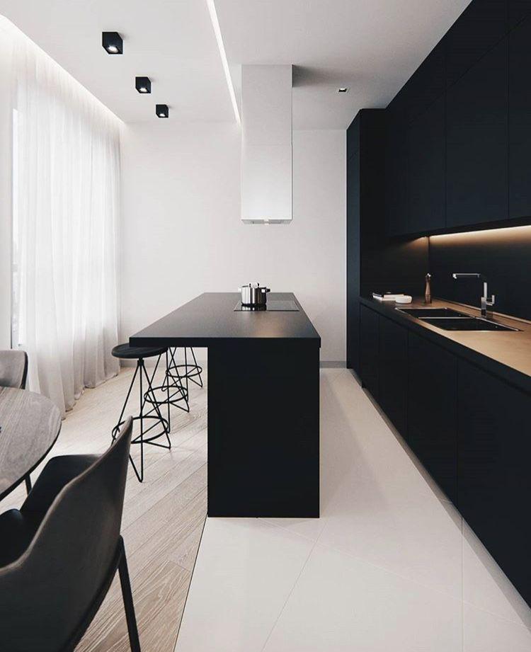 Minimal And Modern Black And White Kitchen With A Bar Minimalism Interior Modern Kitchen Design Minimal Interior Design