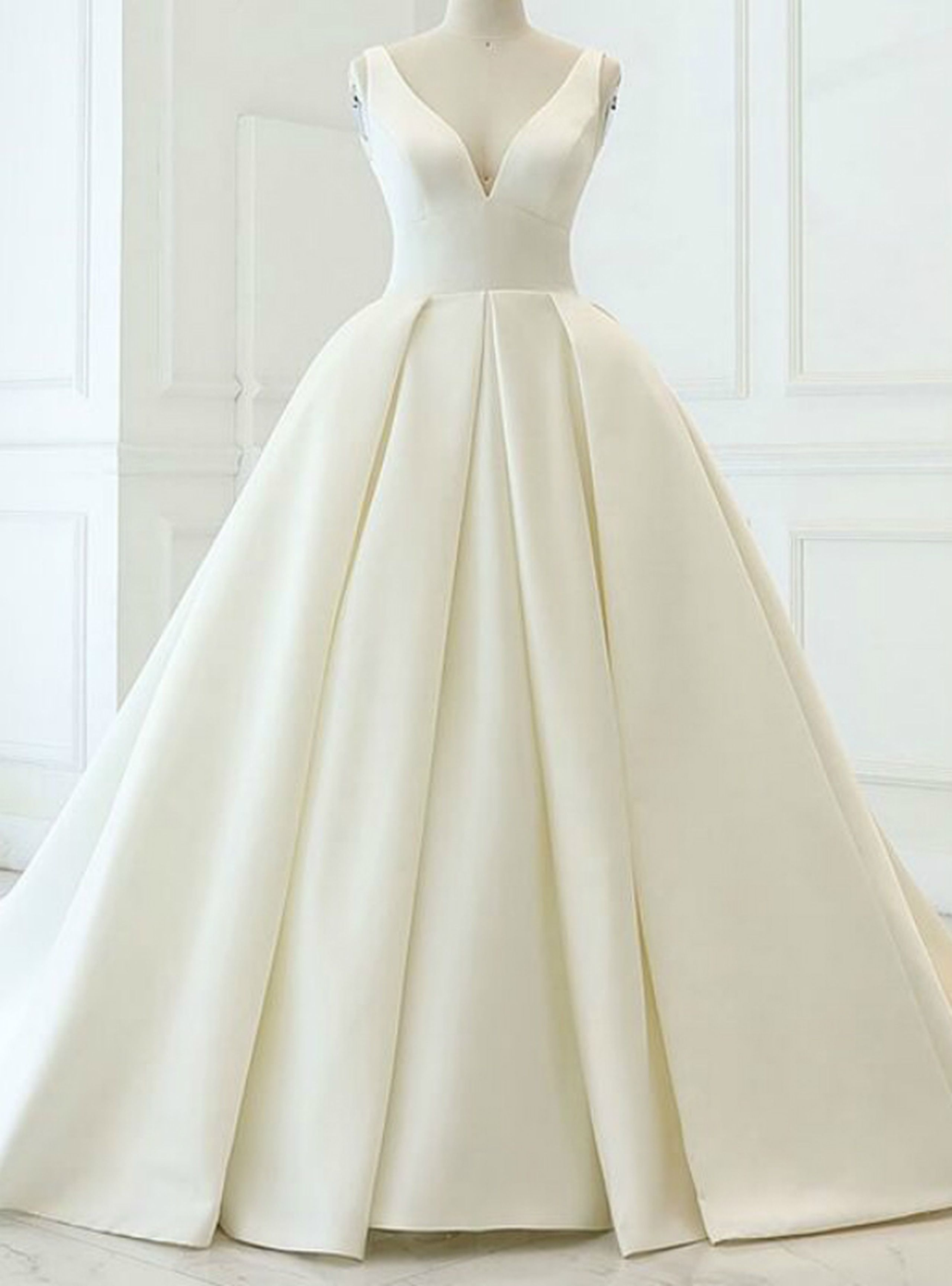 Charming Beige White Ball Gown Satin V-neck Backless Wedding Dress