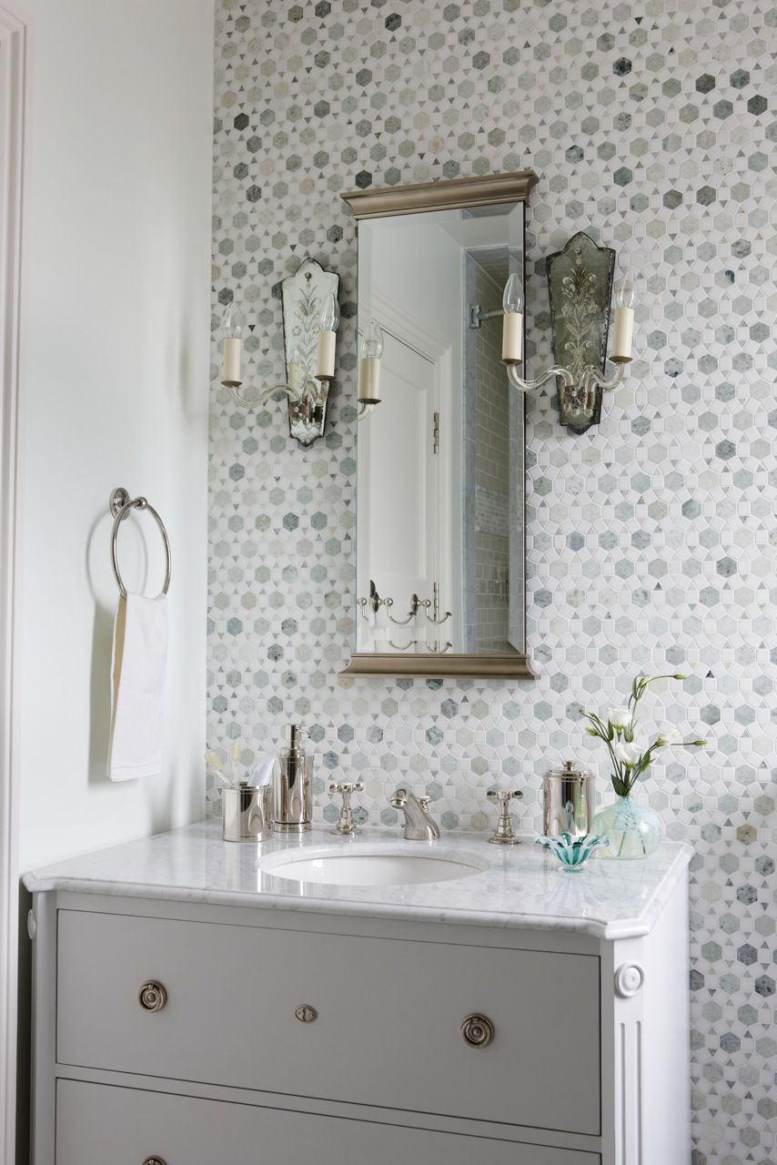 Large Sunflower Ming Green Thassos marble mosaic tile by Saltillo Tiles - Accent wall in master bath