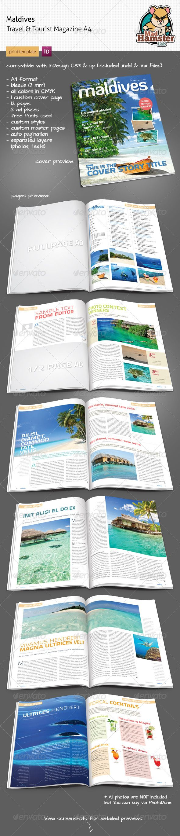 Maldives Tourist & Travel Magazine A4 | Travel magazines, Template ...