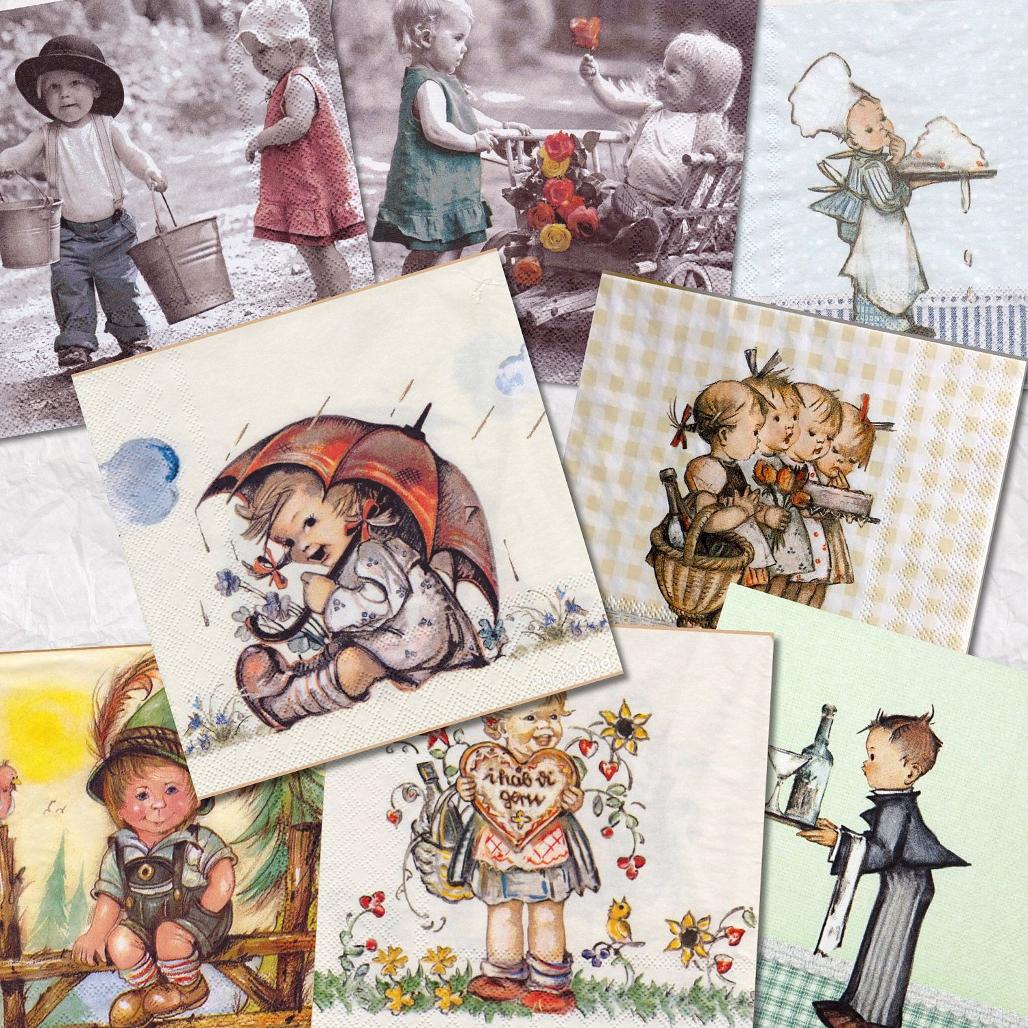 Collection of 8(eight)different napkins ,theme Kid's for decoupage, mixed media, scrapbooking and other art and crafts door Dalilasdecoupage op Etsy
