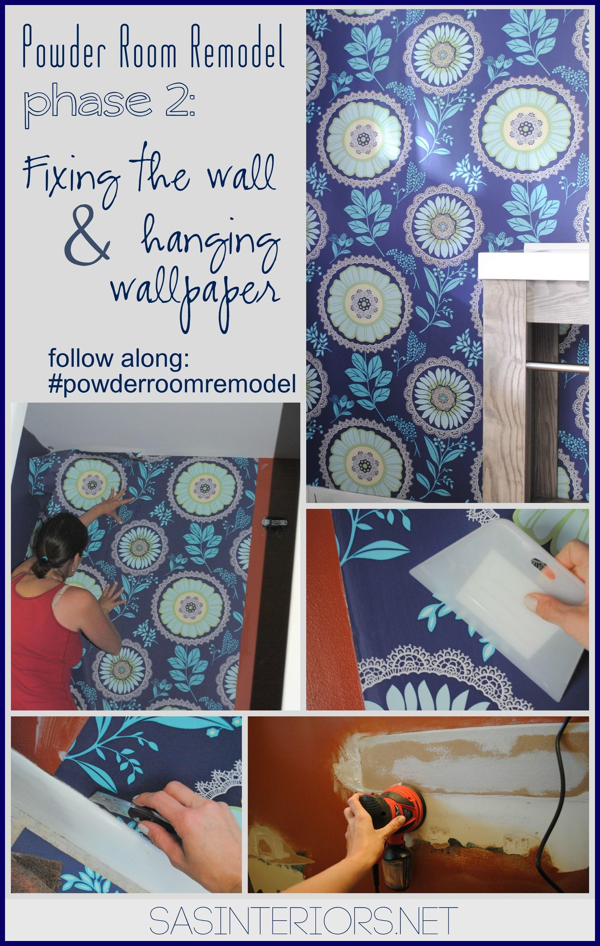 Powder Room By Amy Kartheiser Design: Powder Room Remodel: Repairing Wall And Hanging Wallpaper