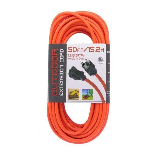 Indoor Outdoor Power Extension Cord Sjtw 16 Awg 3c 13 Amp Ul Csa Orange 50 Ft Extension Cord Indoor Outdoor Power