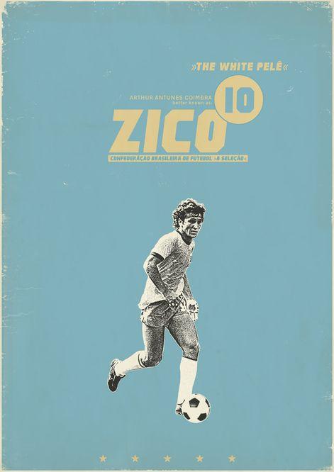 Zico The White Pele Flamengo Affiches De Football Football Affiches Retro
