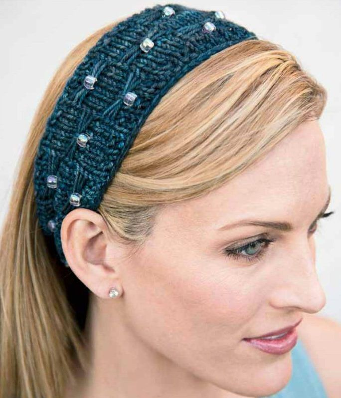 Free Knitting Pattern For Beads And Bows Headband This Headband