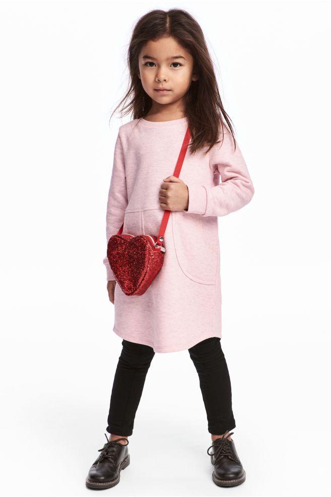 Sweatshirt dress - Light pink marl - Kids | H&M GB 1