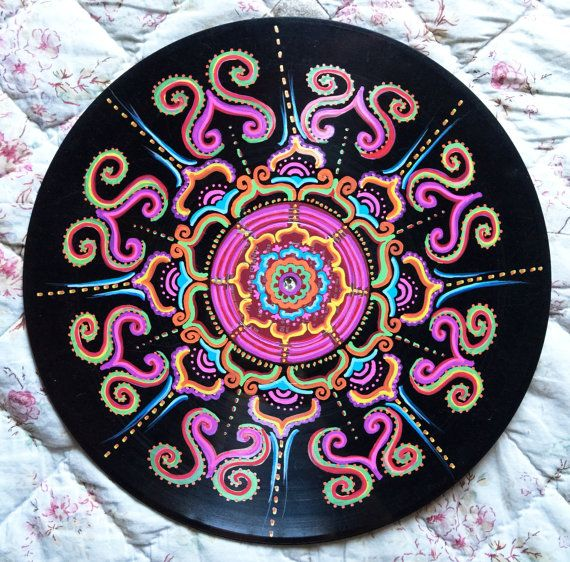 Vinyl Record Art Quot Grateful Quot Acrylic On Vinyl Mandala