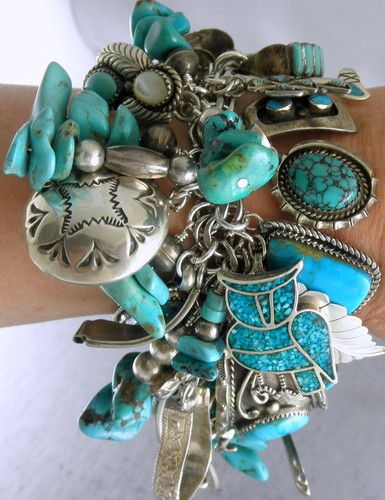 303 grams Spectacular 56 Charms Pawn Navajo Turquoise Charm Bracelet | eBay
